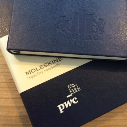 Moleskine notitieboekje met blinddruk logo PWC