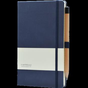 Castelli notitieboek met eigen logo donkerlauw soft touch