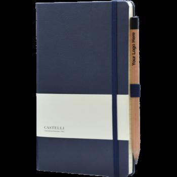 Castelli notitieboek bedrukt met eigen logo Premium lederlook blauw
