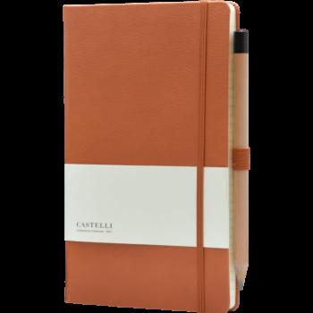 Leren notitieboek met bedrukking | Castelli Cognac Bruin