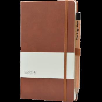 Castelli notitieboek bedrukt met eigen logo Premium Lederlook donkerbruin 387