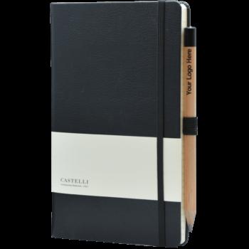 Castelli notitieboek bedrukken met eigen logo Premium Lederlook zwart
