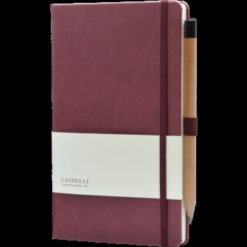 Castelli notitieboek bedrukken met logo soft touch bordeaux rood