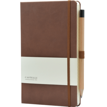 Castelli notitieboek met logo soft touch bruin 461