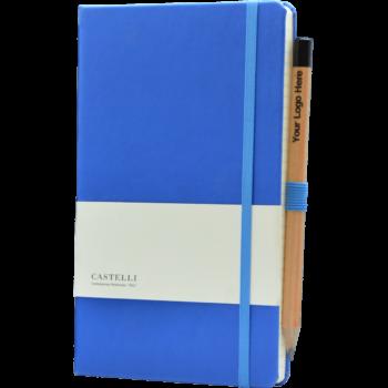 Castelli notitieboek met eigen logo soft touch kobaltblauw