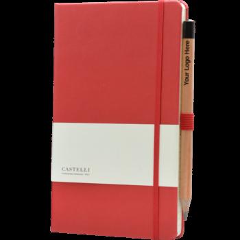 Castelli notitieboek met logo soft touch rood 187