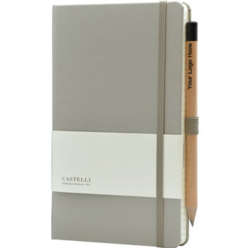 Castelli notitieboek met logo soft touch taupe