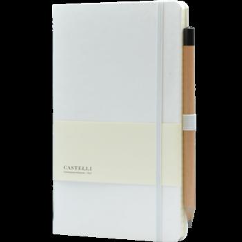 Castelli notitieboek bedrukt met eigen logo soft touch wit