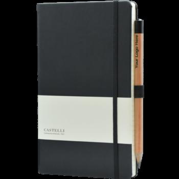 Castelli Notitieboek Zwart met eigen logo (soft touch)