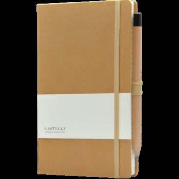 Castelli notitieboek bedruk met eigen logo premium lederlook cognac bruin 371