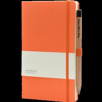 Castelli notitieboek bedrukt met eigen logo soft touch oranje 452