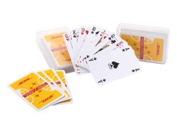 Kaartspel in transparant doosje, kaarten naar wens bedrukt