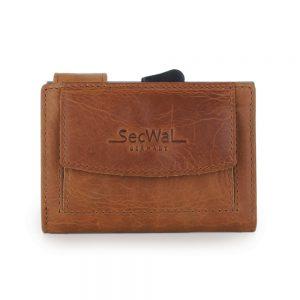 SecWal kaarthouder met portemonnee_leder_cognac bruin