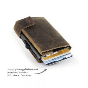 SecWal kaarthouder met portemonnee_leder_hunter brown_3