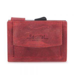 SecWal kaarthouder met portemonnee_leder_hunter red
