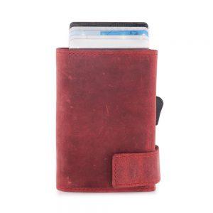 SecWal kaarthouder met portemonnee_leder_hunter red_2