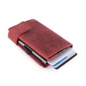 SecWal kaarthouder met portemonnee_leder_hunter red_3