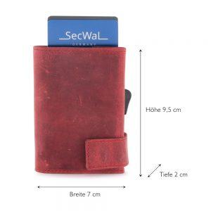 SecWal kaarthouder met portemonnee_leder_hunter red_5