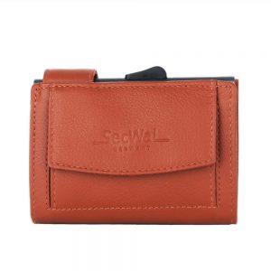 SecWal kaarthouder met portemonnee_leder_oranje