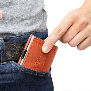 SecWal kaarthouder met portemonnee_leder_oranje_9