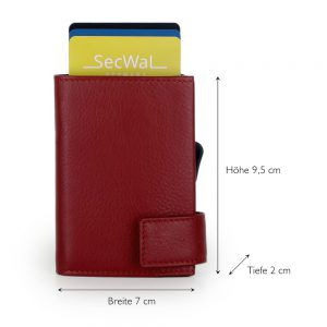SecWal kaarthouder met portemonnee_leder_rood_5