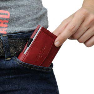 SecWal kaarthouder met portemonnee_leder_rood_9