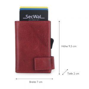 SecWal kaarthouder met portemonnee_leder_vintage rood_5
