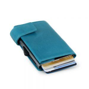 SecWal kaarthouder met portemonnee_leder_vintage turkois_3
