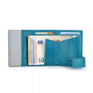 SecWal kaarthouder met portemonnee_leder_vintage turkois_4