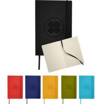 Klassiek notitieboek met flexibele kaft bedrukt met eigen logo