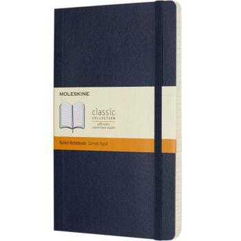 Moleskine boek met softcover blauw bedrukt met eigen logo