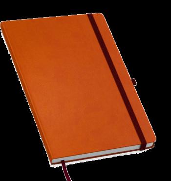 Moderno notitieboek bedrukt met eigen logo en gekleurd elastiek