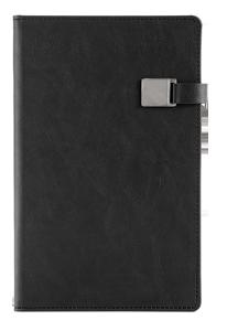 Notitieboek met magneetsluiting en eigen logo bedrukking zwart