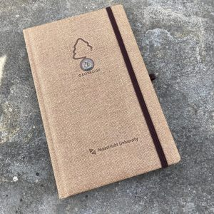 Notitieboek jute bekleding met eigen logo growbook